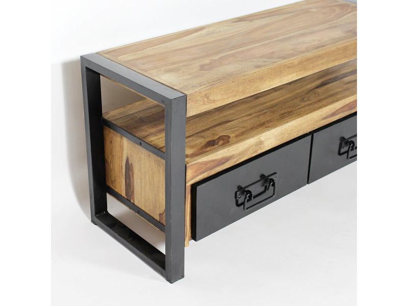 Meuble tv industriel 3 tiroirs en acacia ra9a