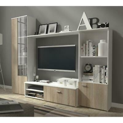 Salsa meuble tv mural 241 cm coloris chêne structuré comprenant 4 éléments + led