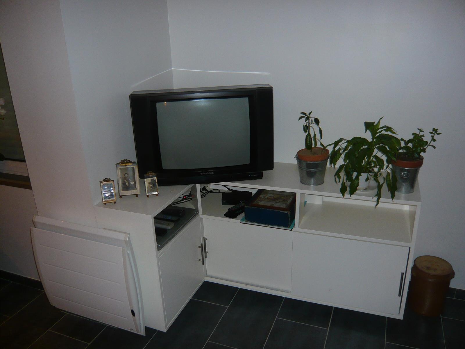 Meuble tv d'angle laqué blanc