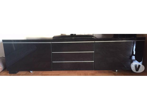 Ikea meuble tv noir brillant
