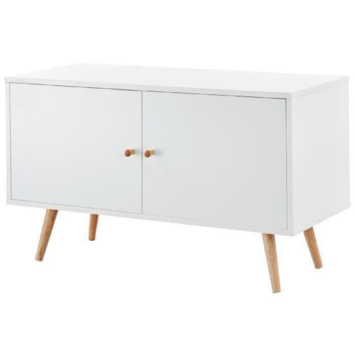 Meuble tv blanc et bois scandinave