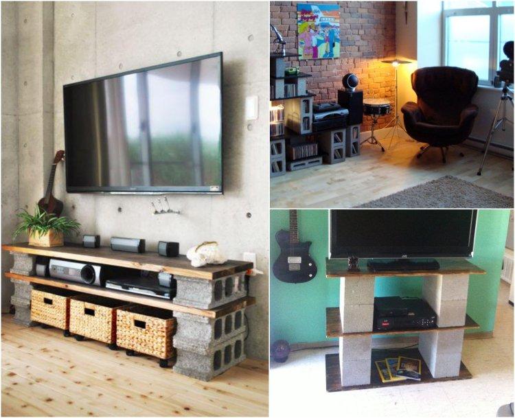 Meuble tv parpaing et bois