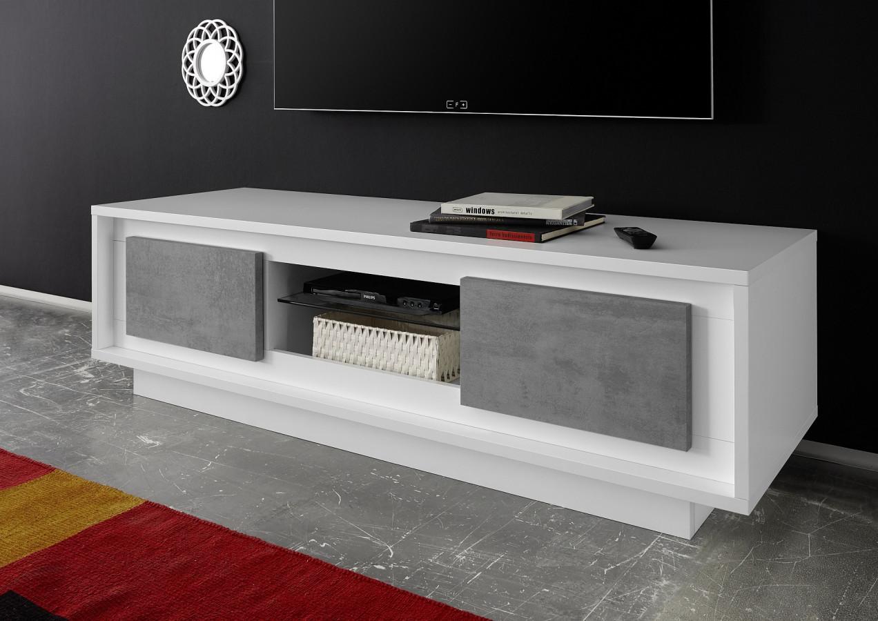 Meuble tv laque blanc et gris