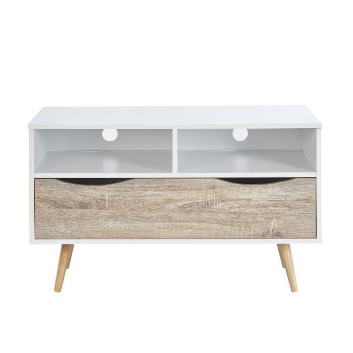 Meuble tv scandinave pin blanc 3 tiroirs assortis