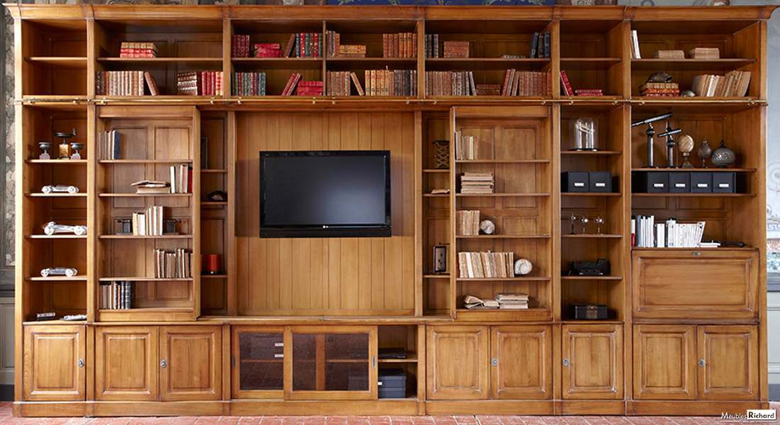 Meuble bibliotheque tv bois massif