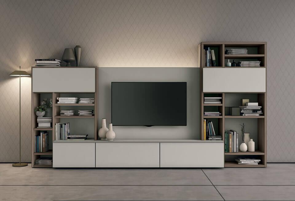 Meuble bibliothèque avec niche tv