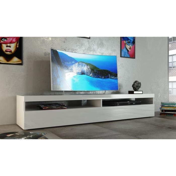 Meuble tv blanc suspendu 200 cm