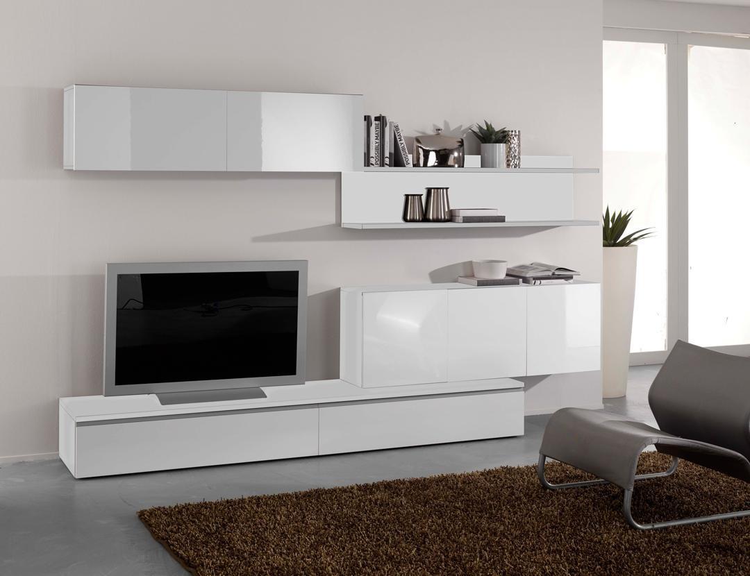 Ensemble meuble tv et table basse blanc laque