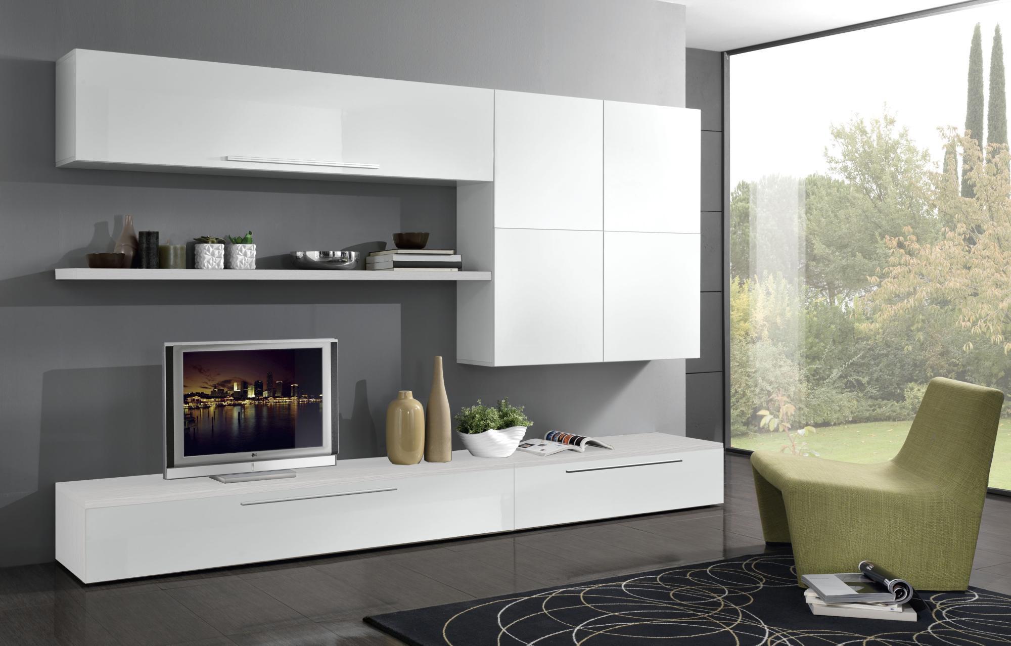 Meuble tv mural design blanc