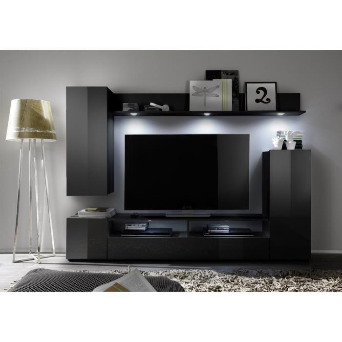 Meuble tv mur noir