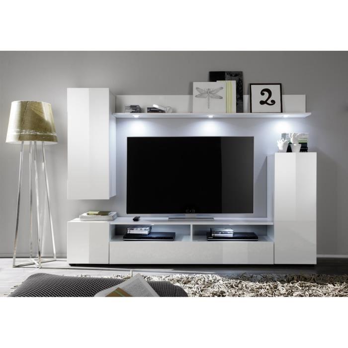 Composition meuble tv gris et blanc