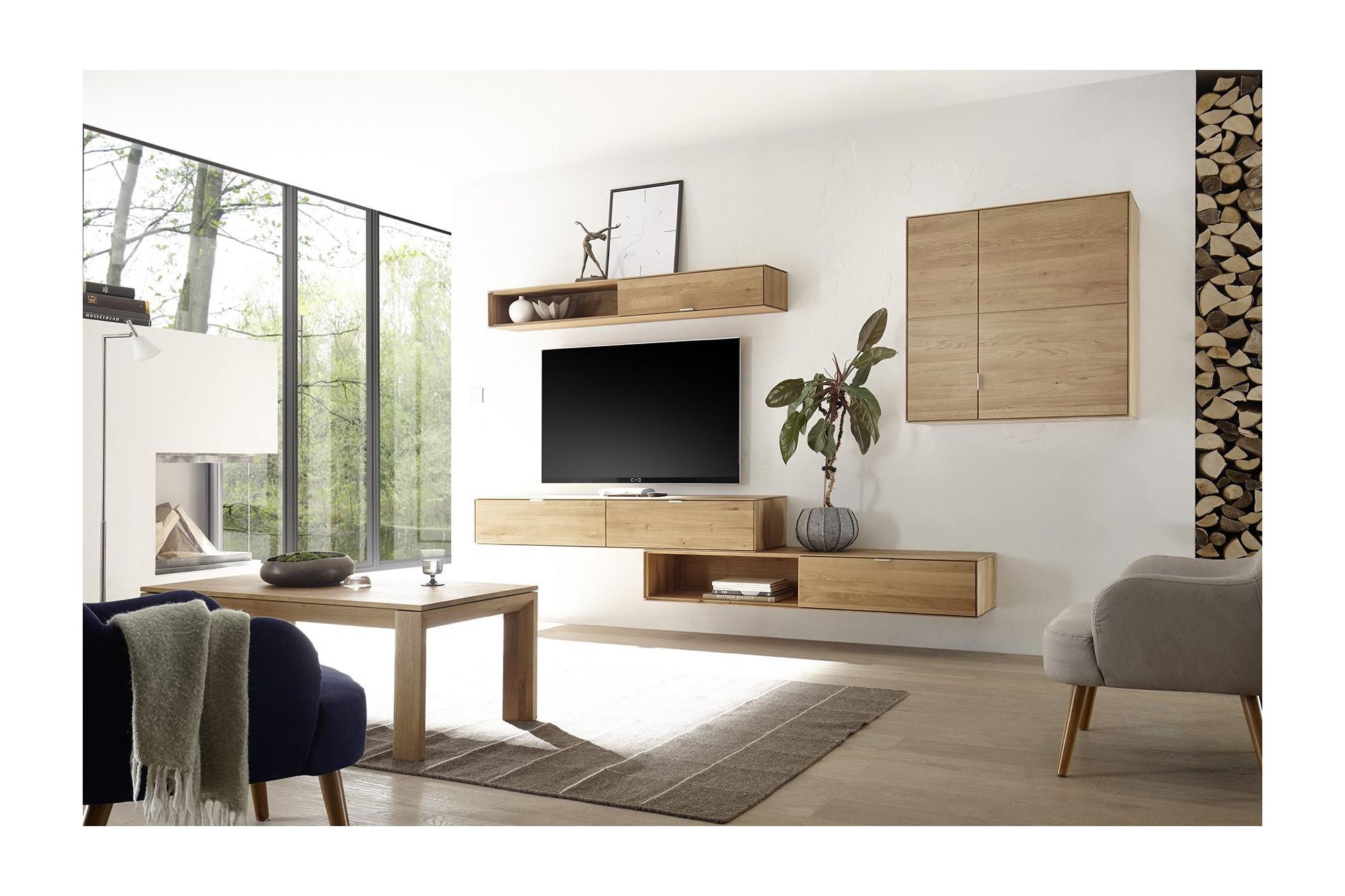 Meuble tv suspendu bois naturel