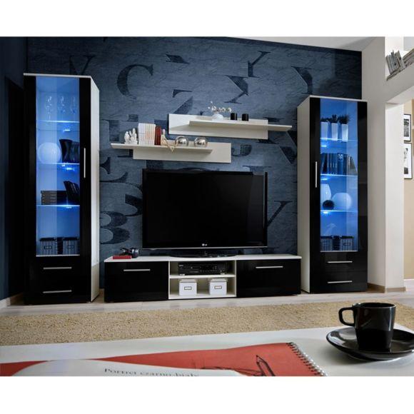 Ensemble meuble tv blanc et noir