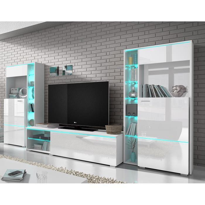 Meuble tv blanc laqué salon