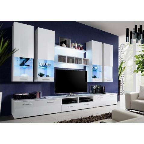 Ensemble meuble tv blanc laqué