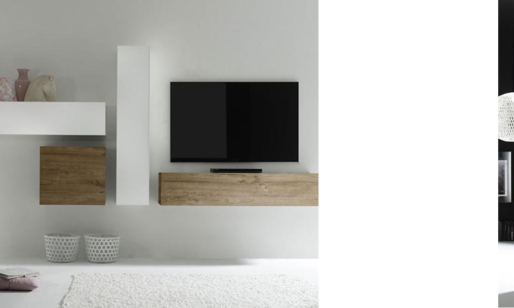 Meuble tv suspendu bois et blanc