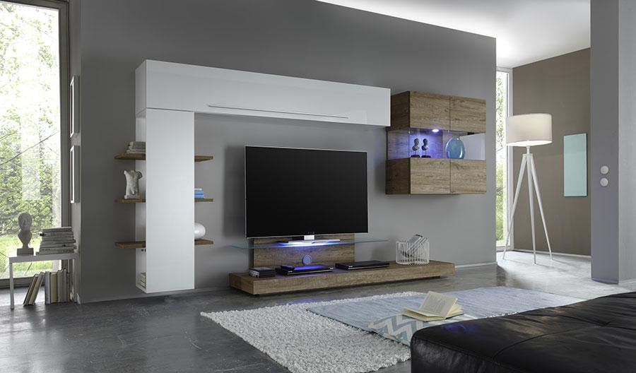 Ensemble meuble tv blanc laqué design