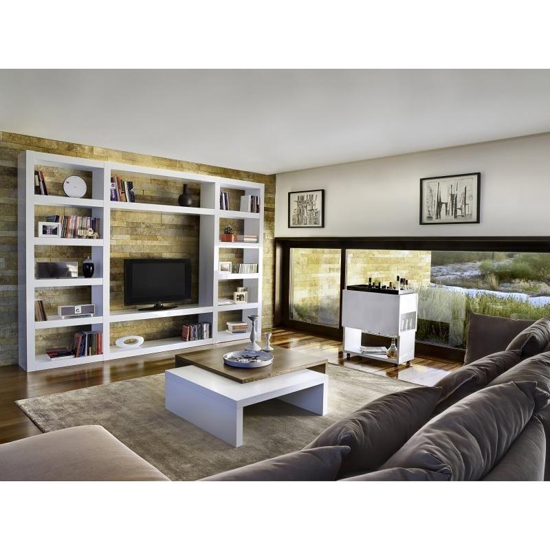 Meuble bibliotheque tv blanc
