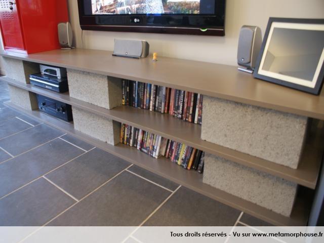 Meuble tv brique planche