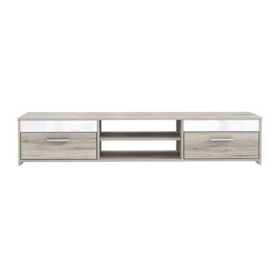 Finlandek meuble tv katso contemporain décor chêne sonoma et blanc brillant - l 120 cm