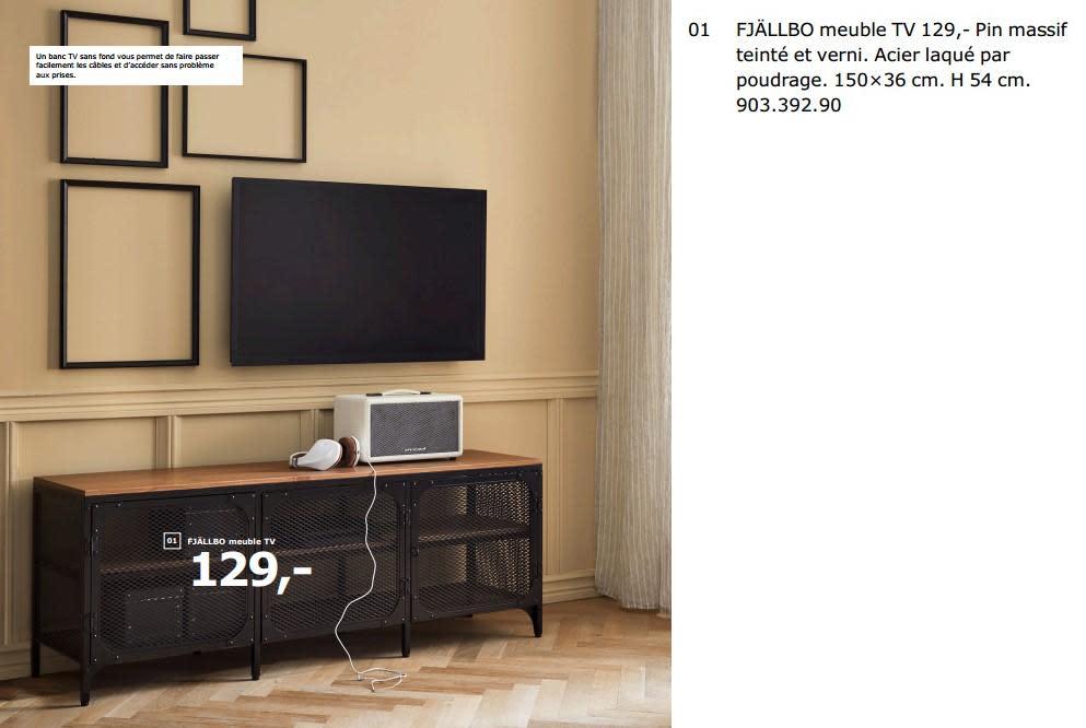 Meuble tv en pin massif ciré
