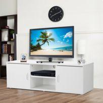 Meuble tv étagères et tiroir mdf décor blanc sono