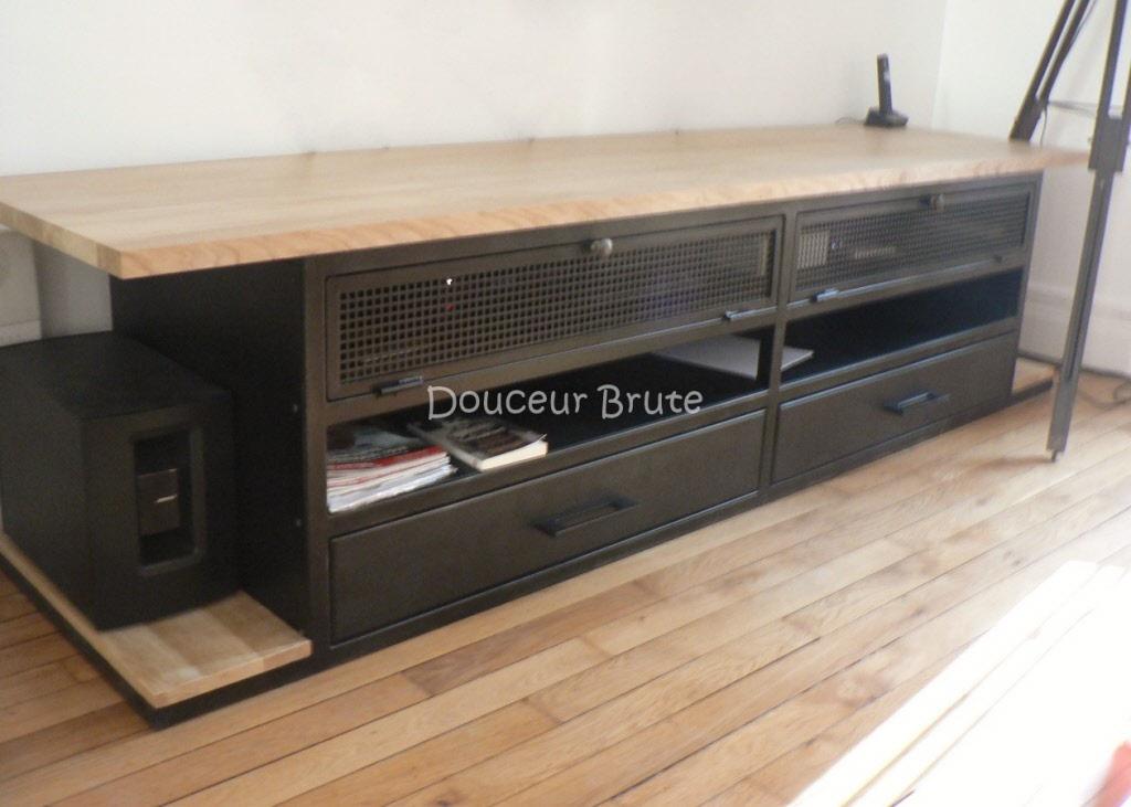 Meuble tv metal et bois