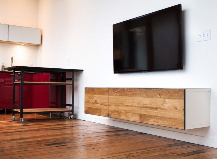 Meuble tv haut bois blanc