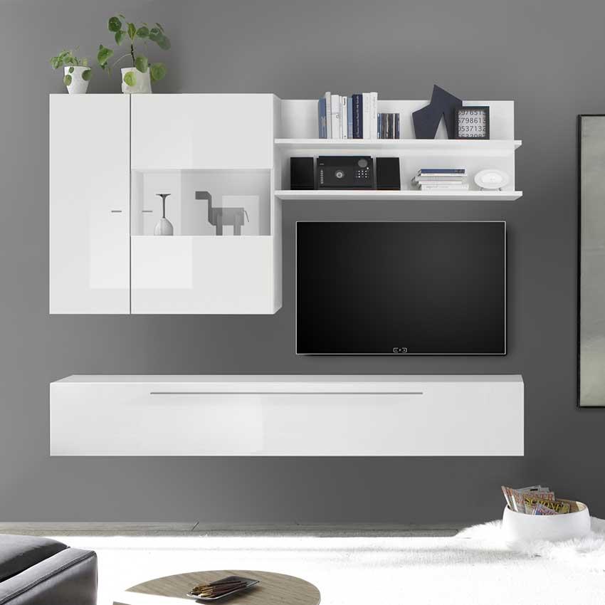 Meuble tv suspendu design blanc