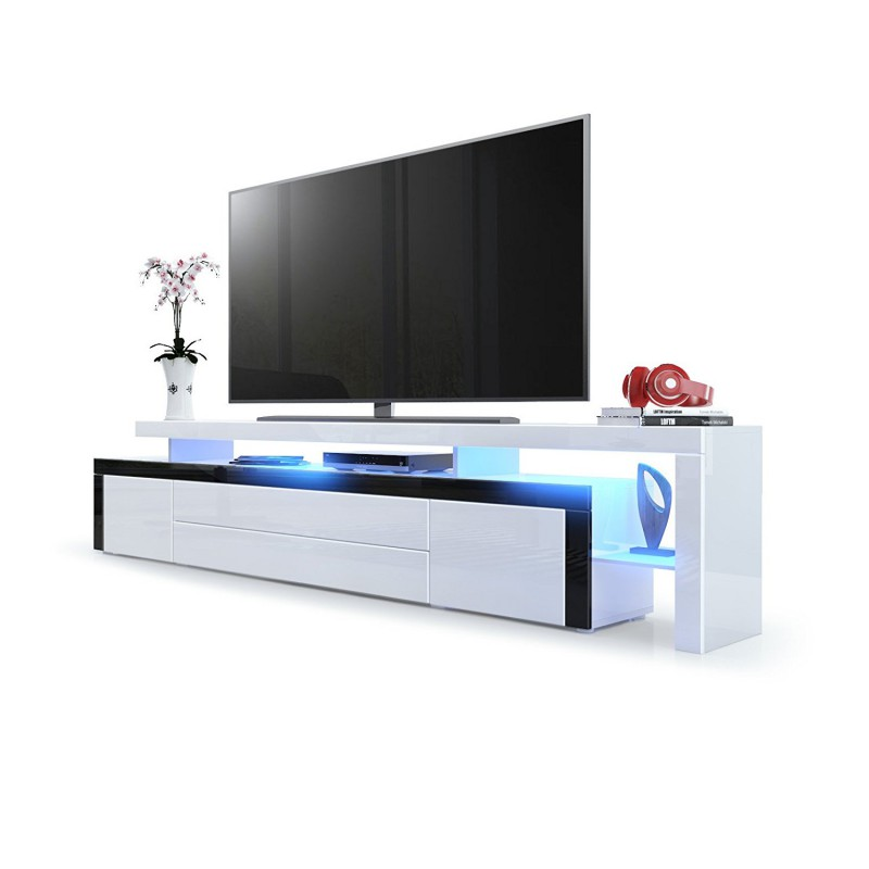 White meuble tv 220 cm blanc laqué