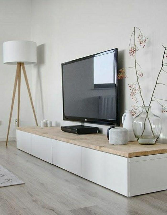 Meuble tv bois clair et blanc