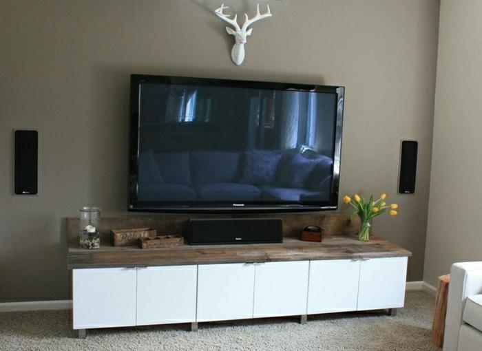 Meuble tv beige et gris