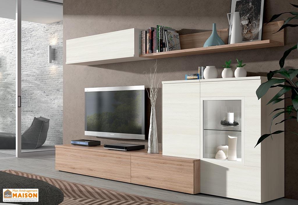 Meuble tv suspendu bois gris