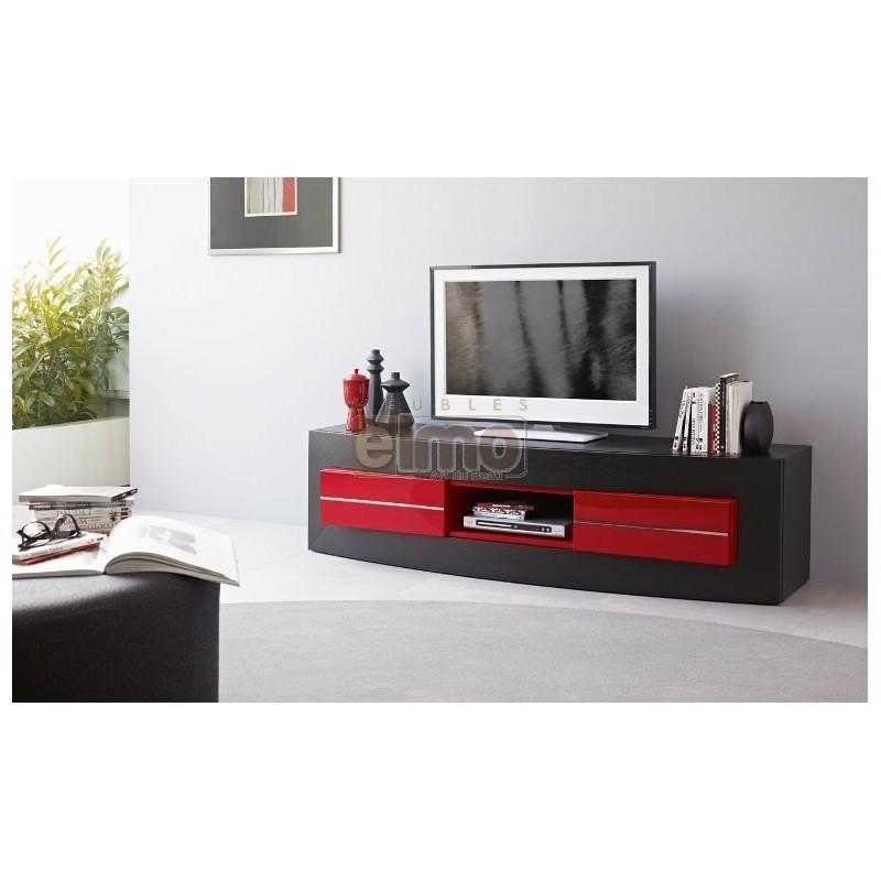 Meuble tv noir et rouge