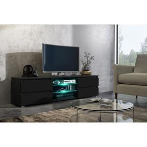 Meuble tv noir brillant pas cher
