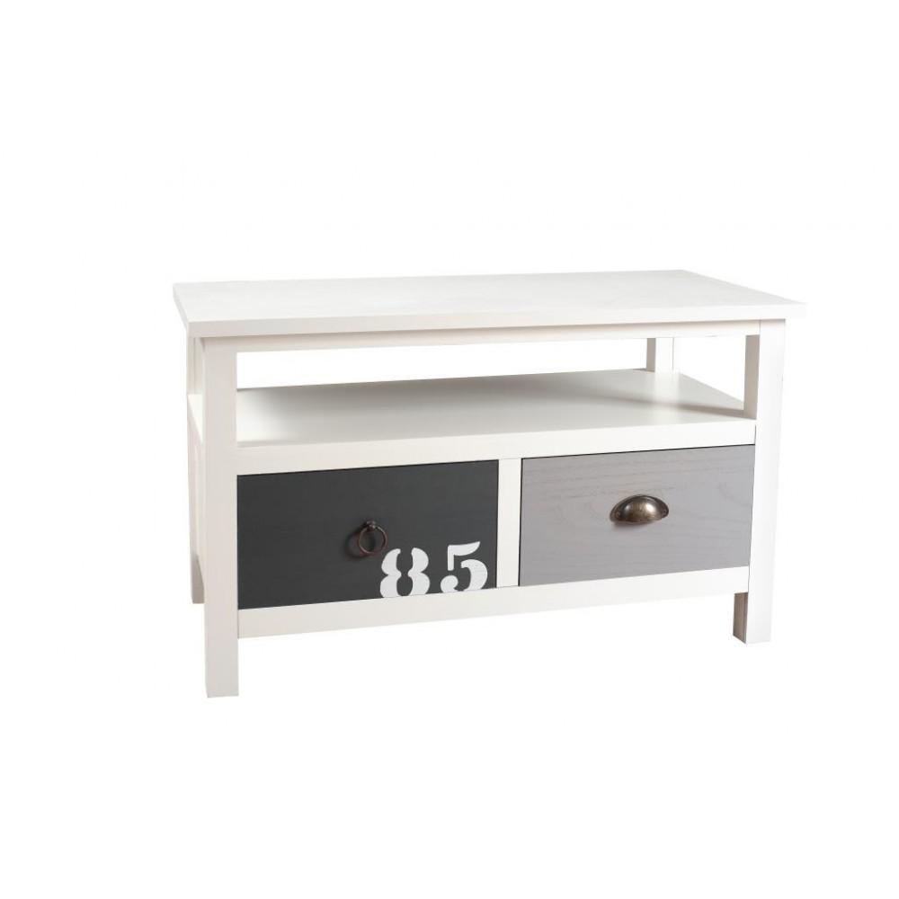 Petit meuble tv blanc et bois