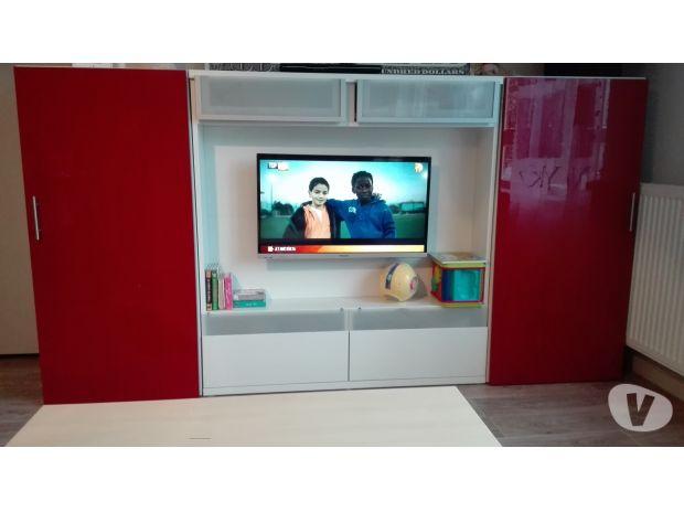 Meuble tv rouge et blanc
