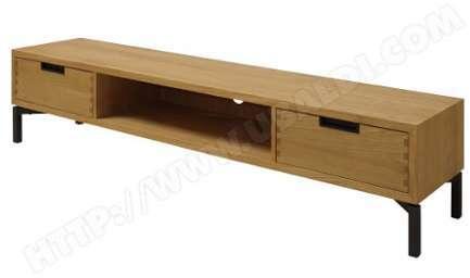 Meuble tv bas en bois massif 3 tiroirs longueur 158 cm berna