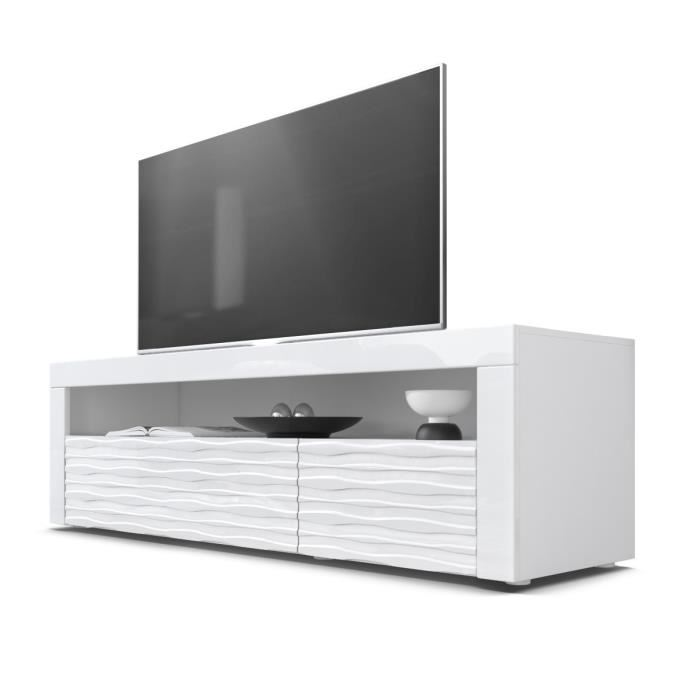 Meuble tv bas blanc led