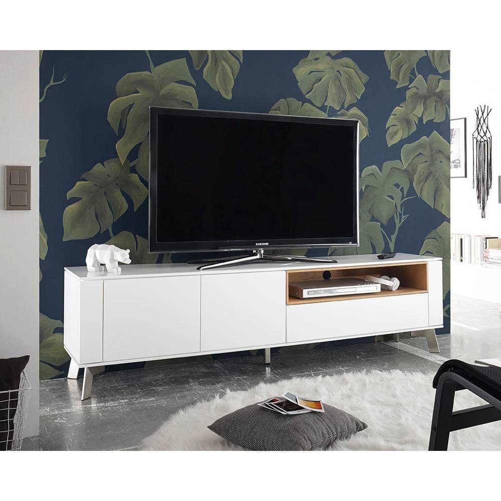 Meuble tv laqué blanc sur pied