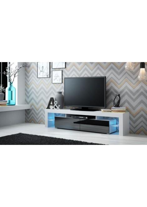Meuble tv blanc laque avec led