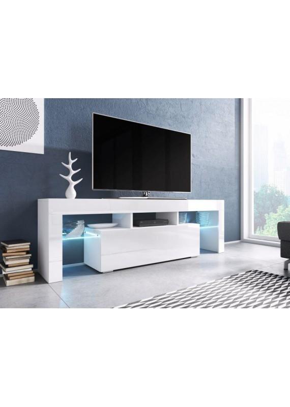 Meuble tv blanc laque a led