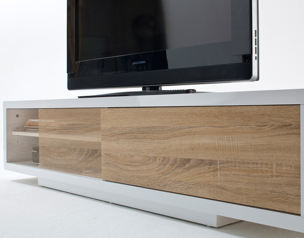 Meuble tv blanc avec bois