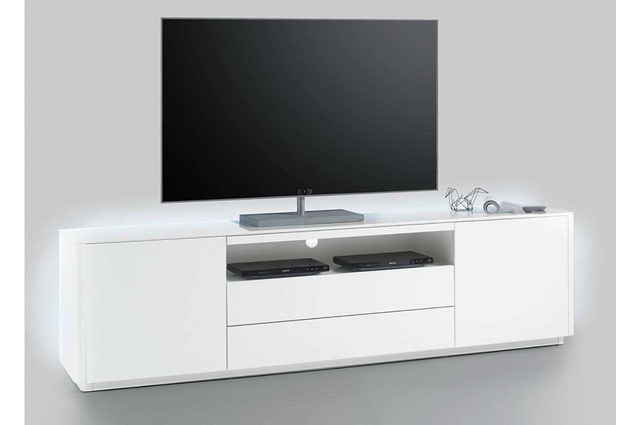 Meuble tv blanc laque mat