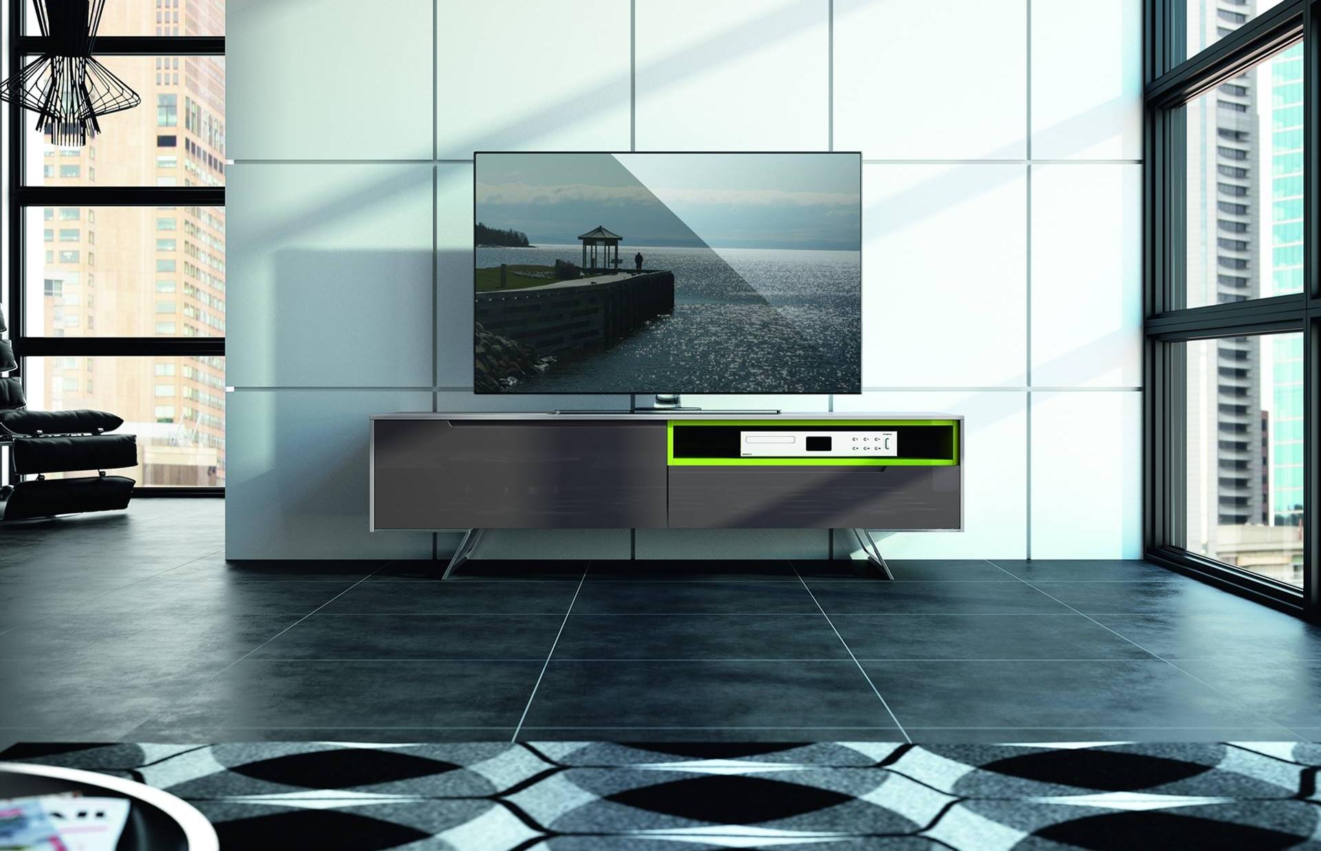 Meuble tv chrome verre