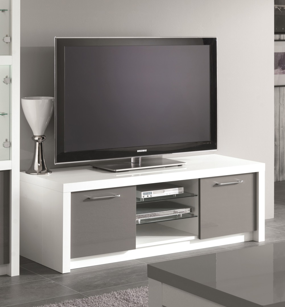 Kora meuble tv contemporain noir brillant - l 150 cm