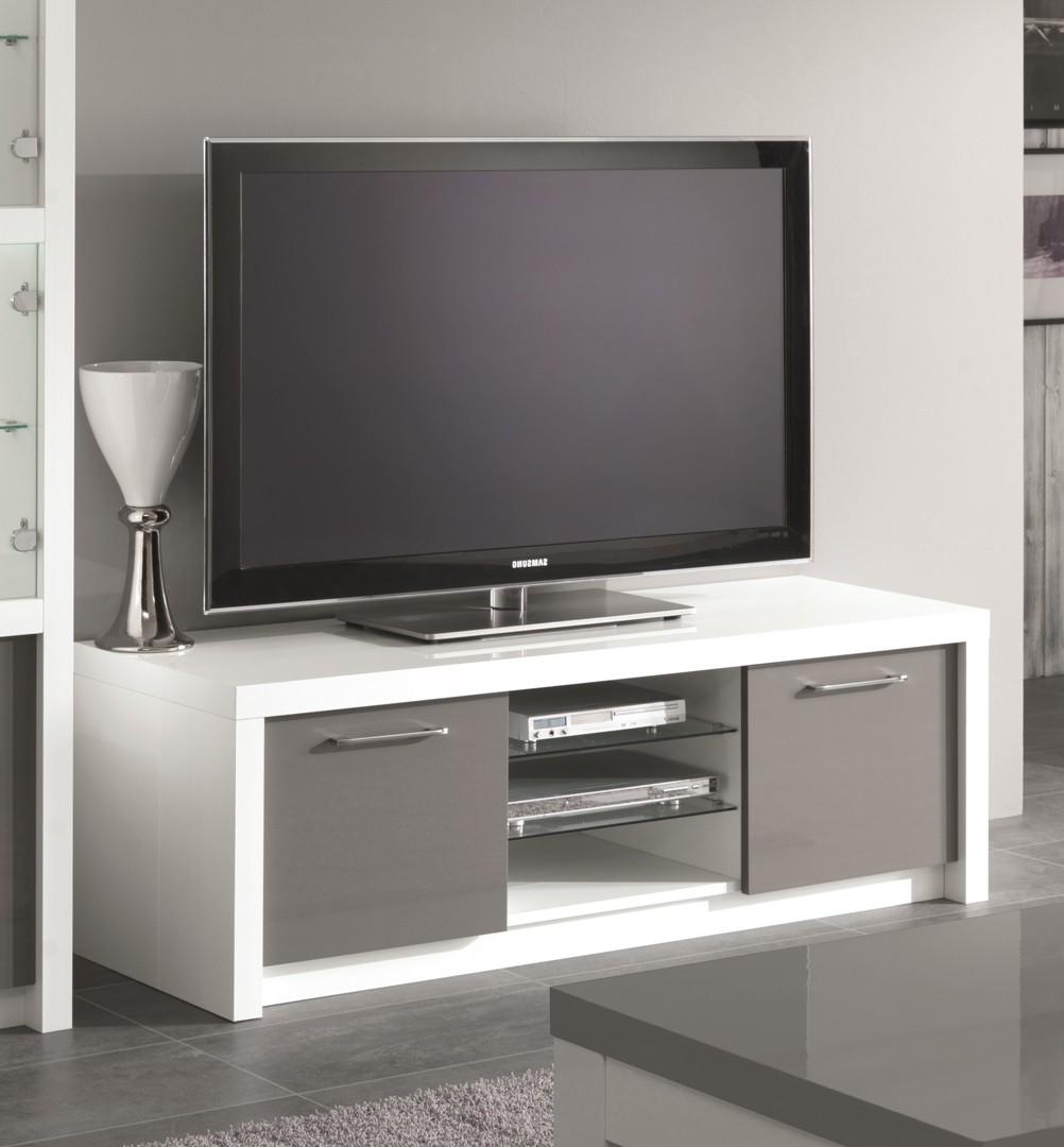 Meuble tv blanc laque et gris