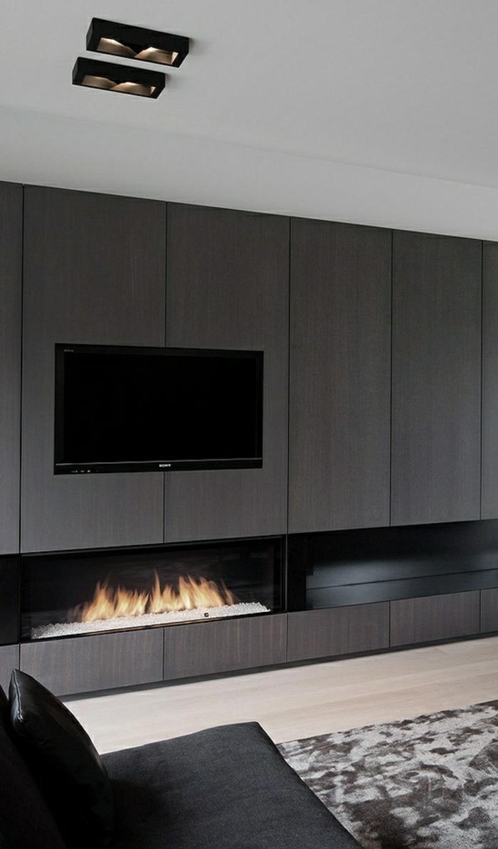 Meuble tv deco gris bois