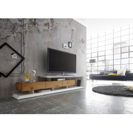 Meuble tv blanc laqué 220 cm
