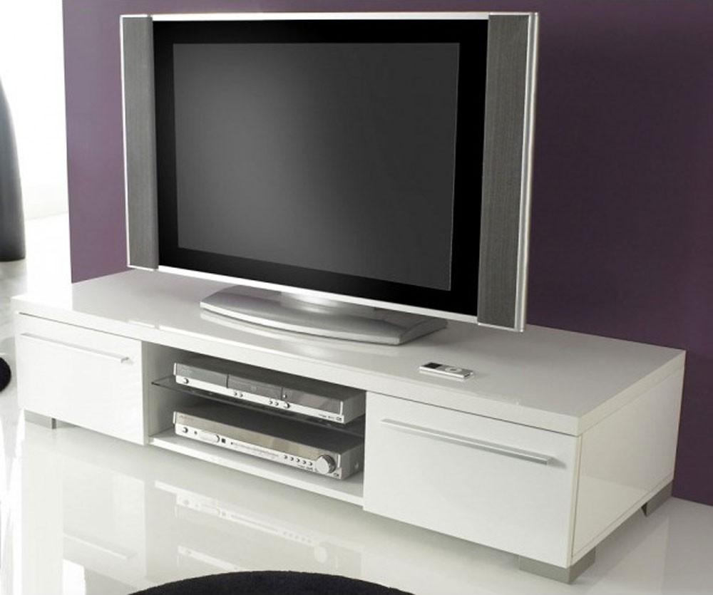 Meuble tv suspendu blanc laqué 140 cm